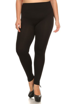 Front side image of Wholesale Premium Basic Seamless Plus Size Leggings