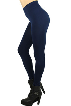 Left Side Image of Wholesale Basic Spandex Full Length Plus Size Leggings