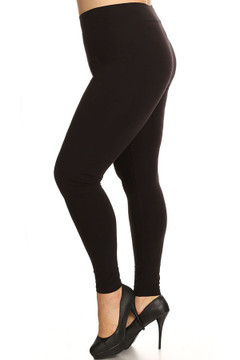 Left Side Image of Wholesale High Waisted Cotton Sport Plus Size Leggings