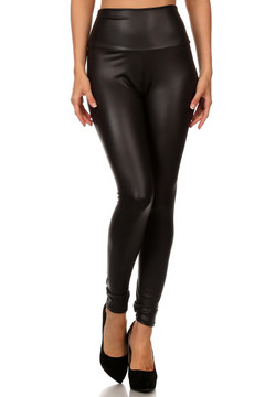 Wholesale Matte High Waisted Faux Leather Leggings