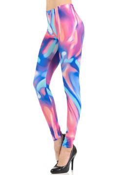 Wholesale Graphic Print Brushed Groovy Pink Blue Mist Leggings