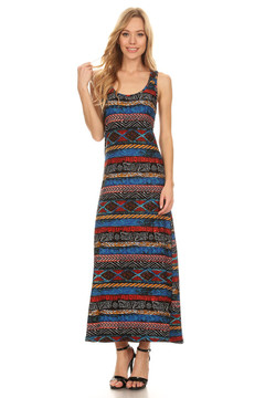 Wholesale Buttery Soft Colorful Tribal Maxi Dress