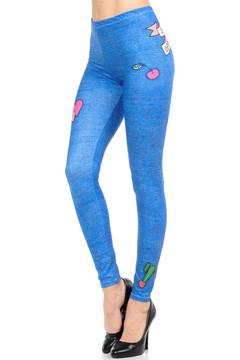 Wholesale Graphic Print Brushed Cute Denim Blue Leggings
