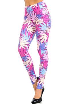 Wholesale Graphic Print Brushed Pretty in Pink Marijuana Leggings