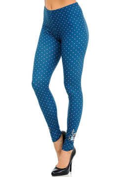 Wholesale Graphic Print Brushed Pink and Blue Polka Dot Leggings