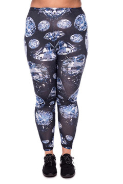 Wholesale Brushed Graphic Printed Plus Size Diamond Leggings