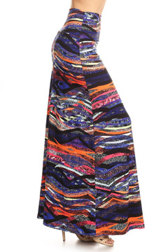 Wholesale Buttery Soft Bands of Color Maxi Skirt