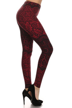 Wholesale Buttery Soft Plus Size Detailed Leaf Brushed Leggings - 3X-5X
