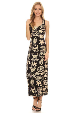 Wholesale Buttery Soft Elegant Tribal Symbols Maxi Dress