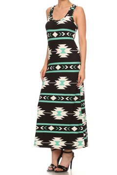 Wholesale Buttery Soft Mint on Black Aztec Maxi Dress