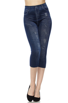 Wholesale Worn and Rugged Faux Denim Capris