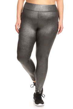 Wholesale High Waisted Metallic Silver Plus Size Sport Leggings