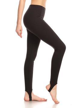 Side image of Wholesale Premium Brushed Black Sport Stirrup Leggings