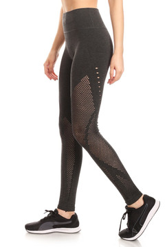 Wholesale Premium High Waisted Sport Mesh Leggings