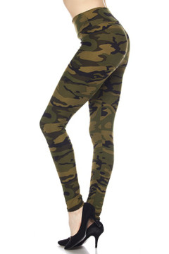 Wholesale Buttery Soft High Waisted Green Camouflage Leggings