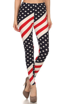 Wholesale Buttery Soft Mini Star Twist USA Flag Leggings