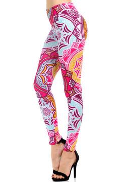 Wholesale Brushed Graphic Print Pretty Pink Mandala Leggings