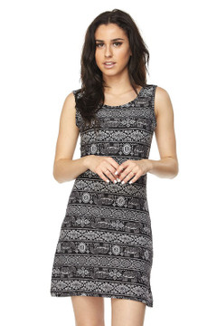 Buttery Soft Tribal Elephant Criss Cross Strap Mini Dress