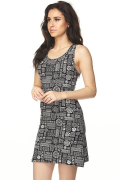 Wholesale Buttery Soft Aztec Symbols Cross Back Dress