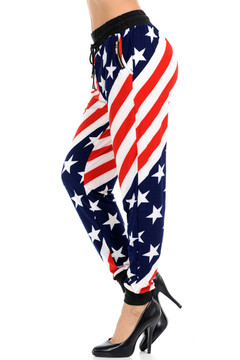 Wholesale Buttery Soft Twisted USA Flag Joggers
