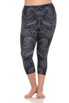 Wholesale Brushed Graphic Print Swirl Plus Size Capris