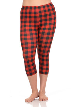 Wholesale Brushed Graphic Print Red Tartan Plus Size Capris