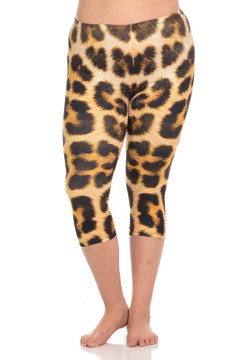 Wholesale Brushed Graphic Print Panther Print Plus Size Capris