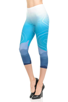 Wholesale Brushed Graphic Print Ice Blue Ombre Capris
