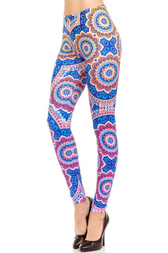 Wholesale Brushed Graphic Print Blue Mandala Sun Leggings