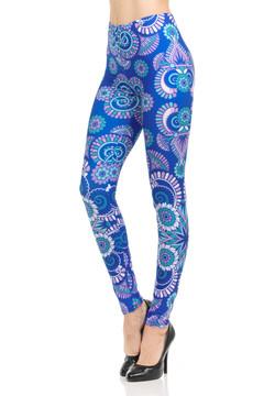 Wholesale Brushed Graphic Print Blue Mandala Burst Leggings