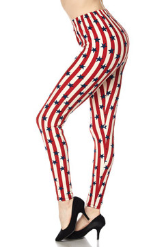 Wholesale Buttery Soft Vertical Stripes USA Flag Plus Size Leggings