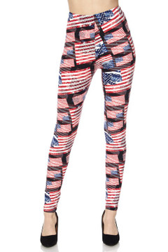 Wholesale Buttery Soft 3D Hologram USA Flag Plus Size Leggings