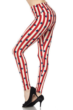 Wholesale Buttery Soft High Waist Vertical Stripes USA Flag Plus Size Leggings