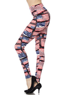 Wholesale Buttery Soft High Waisted 3D Hologram USA Flag Plus Size Leggings