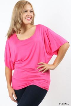 Scoop Neck Rayon Kimono Plus Size Top