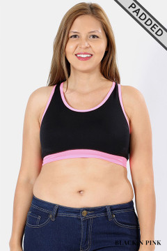 Wholesale Crisscross Back Plus Size Black Sport Bra Top