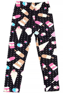 Wholesale Buttery Soft Summer Treats Kid's Leggings - White Mini Dots