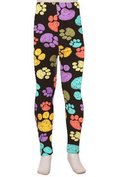 Wholesale Buttery Soft Rainbow Paw Print Kids Leggings