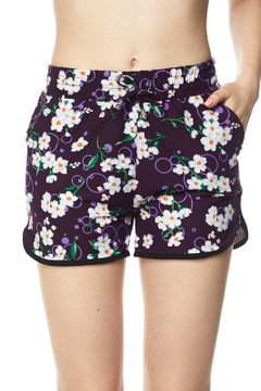Wholesale Buttery Soft Purple Floral Oasis Dolphin Shorts