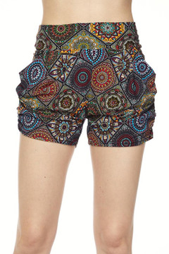 Wholesale Buttery Soft Olive Emblem Motif Harem Shorts