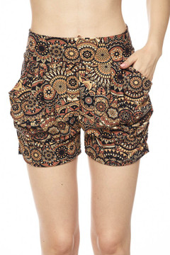 Wholesale Buttery Soft Earthy Mandala Harem Shorts