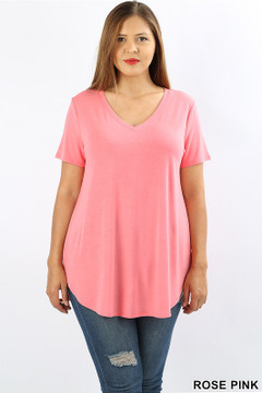 Wholesale Premium Short Sleeve Relaxed Fit V-Neck Round Hem Top