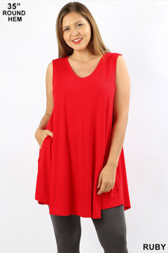 Wholesale Premium V-Neck Round Hem Sleeveless Longline Rayon Top with Pockets