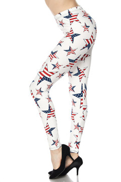 Wholesale Buttery Soft Ivory USA Flag Leggings
