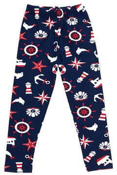 Wholesale Buttery Soft Ship Ahoy Sailor Kid's Leggings