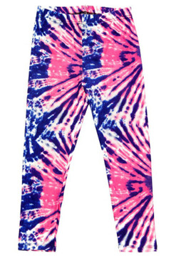Wholesale Buttery Soft Fuchsia Blue Blast Tie Dye Kid's Leggings