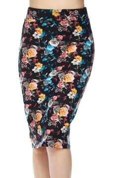 Wholesale Silky Soft Scuba Rainbow Roses Pencil Skirt