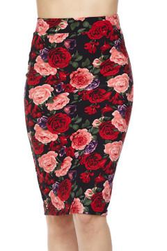 Wholesale Silky Soft Scuba Vivid Rose Pencil Skirt
