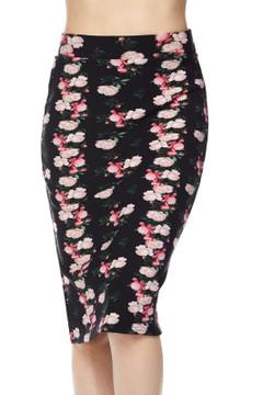Wholesale Silky Soft Scuba Lil' Pink Roses Plus Size Pencil Skirt
