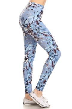 Wholesale Buttery Soft Beautiful Blue Floral Plus Size High Waisted Leggings